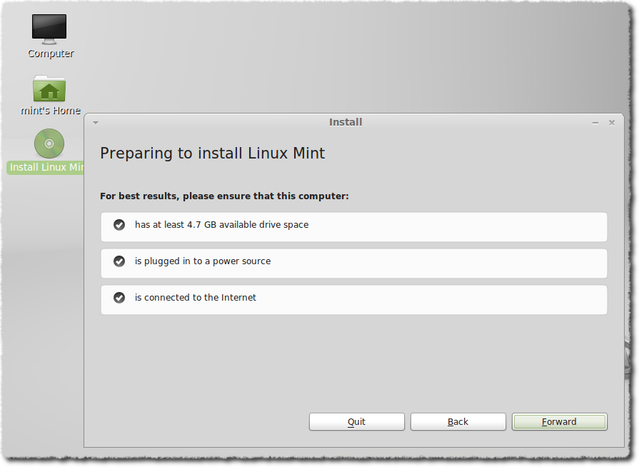Preparing to install Linux Mint dialog box