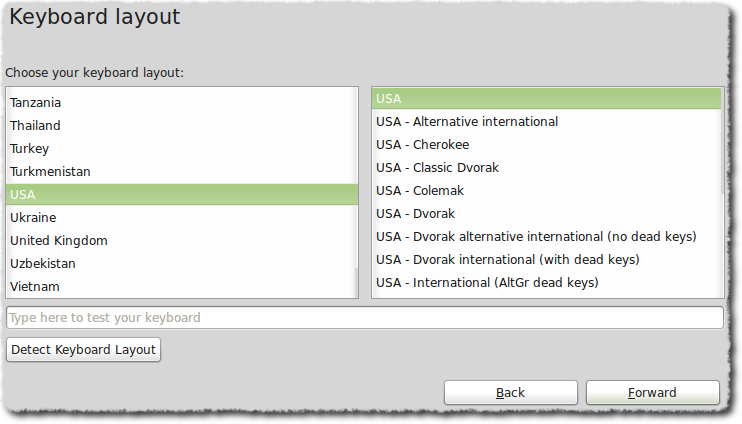 Keyboard layout dialog box
