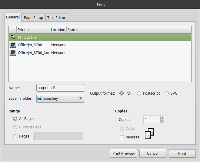 Print To File Dialog Box