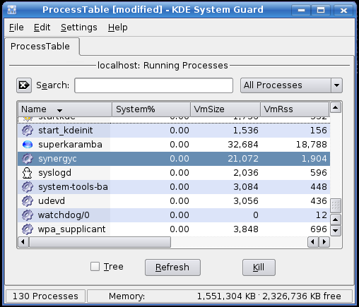 The KDE Process Monitor