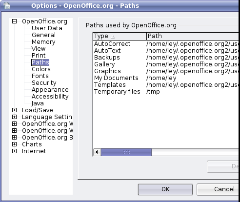 OpenOffice - Tools, Options, Paths